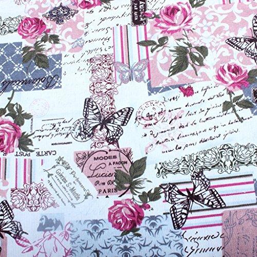 Edealing 1 Meter NEUE Weinlese-Chic Französisch Rose Schmetterling Baumwollleinengewebe RETRO Crafts -