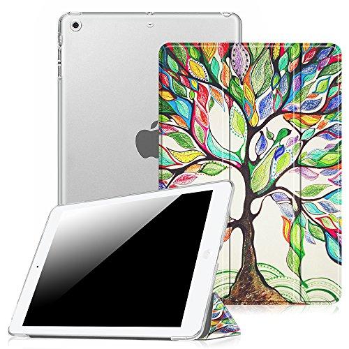Fintie Funda para iPad Air - Trasera Transparente Mate Carcasa Ligera con Función de Soporte y Auto-Reposo/Activación para iPad Air 2013, Love Tree