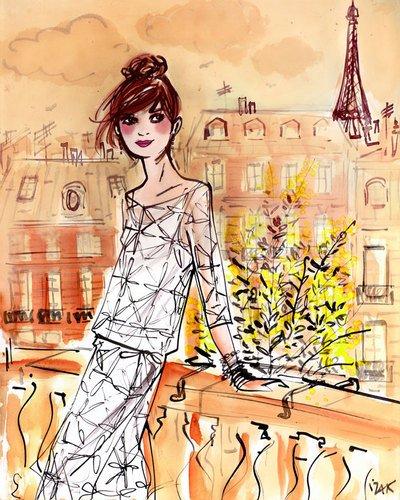 Paris-art-home-dekor (Kleister Art Collective Mimosa Girl Gespannte Leinwand Kunst von Izak zenou, 24von 30)