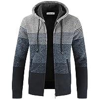 Uomo Moda Cardigan Giacca con Cappuccio Maglione Maglia Manica Felpa Lungan zipRighe Caldo Invernale Outwear Tops…