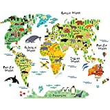 Home Evolution Large Kids Educational Animal/Famous Building World Map Peel & Stick Wall Decals Stickers Home Decor Art (Yellow)