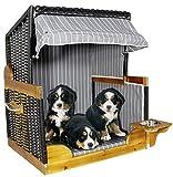 Trendyshop365 Luxus Outdoor Hundestrandkorb für kleine und mittlere Hunde - Trinknapf - Echtholz