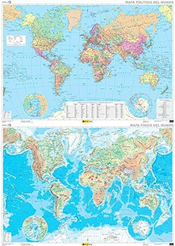 Mapa mural El mundo físico-político dos caras 138 x 97 1:30.000.000. IGN/CNIG