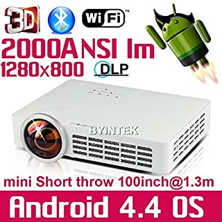ARBUYSHOP World First Short throw Android Wifi Home Theater mini HDMI USB SD RJ45 LED Video 1080P Bluetooth Blu Ray DLP 3D Projector HD