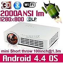 tiro ARBUYSHOP Mundial primer corto Android Wifi de cine en casa HDMI mini USB SD RJ45 LED Vídeo 1080P Bluetooth Blu Ray 3D DLP proyector de alta definición