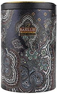 Basilur Pure Ceylon Black Tea '1001 Nights' Oriental Collection with cornflower, blue malva,cranberry fruits and flavour in the Metal Caddy 100g