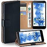 moex LG Google Nexus 5X | Hülle Schwarz mit Karten-Fach 360° Book Klapp-Hülle Handytasche Kunst-Leder Handyhülle für LG Google Nexus 5X Case Flip Cover Schutzhülle Tasche