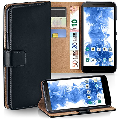LG Google Nexus 5X Hülle Schwarz mit Karten-Fach [OneFlow 360° Book Klapp-Hülle] Handytasche Kunst-Leder Handyhülle für LG Google Nexus 5X Case Flip Cover Schutzhülle Tasche