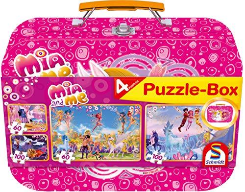 Schmidt Spiele 56510 - Mia e Me, Set Puzzle 2 x 60 Pezzi e 2 x 100 Pezzi, in Valigetta di Metallo