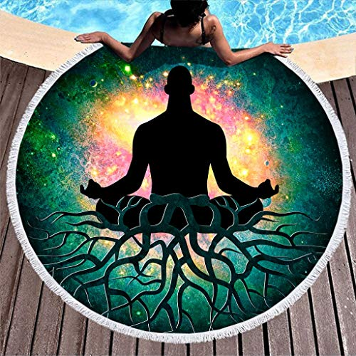 Toalla de playa grande, redonda, con diseño de Buda y cielo estrellado, de microfibra, para playa, yoga, picnic, playa 150 cm carbón