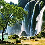 Eurographics DG-DT50079 Waterfall In Vietnam Deco Glas 50 x 50 x 2 cm, blau/grün