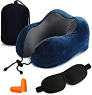 Travel Pillow 100% Pure Memory Foam Neck Pillow, Comfortable & Breathable Cover - Machine Washable, Airplane Travel Kit with