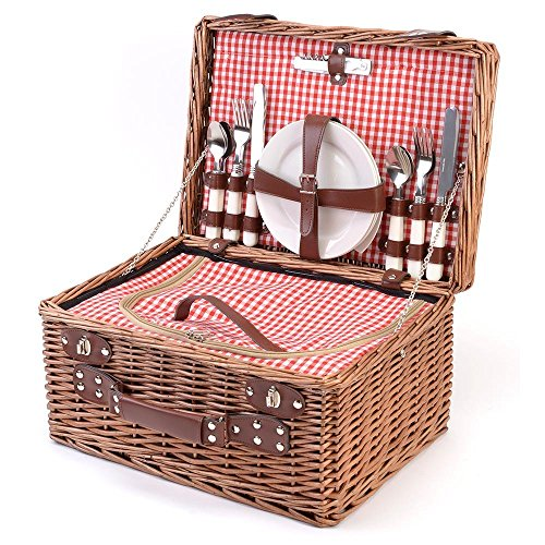 Panier isotherme Pique-nique Bistrot Avec vaisselle 4 personnes Marron et rouge Osier La chaise longue 33-1J-002