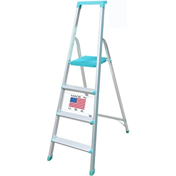 Euro Pro Household Aluminium Step ladder 4 Steps -Made in USA - Folding - Tool Tray - ABS Platform - Ultra Light Weight