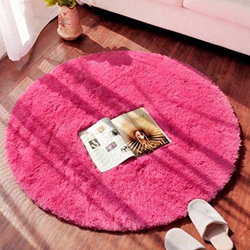 Rose Oval Teppich (FIOFE/Runde Teppich Studie Teppich Drehstuhl Teppich Couchtisch Schlafzimmer Korb (Farbe : Rose red, größe : Diameter 1m))