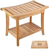 HOMECHO Tabuerte de Ducha de Bambú con Estante para Almacenamiento y Caja de Jabón Taburete de Baño Ergonómico y Antideslizan