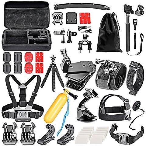 Neewer 50-in-1acción cámara Kit de accesorios para GoPro Hero 4/5sesión, hero 1/2/3/3Plus/4/5, SJ4000/5000, Xiaomi Yi, Nikon y Sony deportes DV en la natación remo escalada ciclismo Camping y