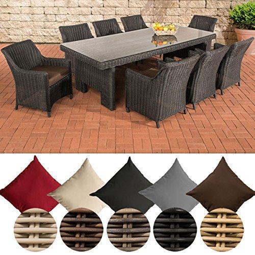 CLP Polyrattan-Sitzgruppe SANDNES inklusive Polsterauflagen | Garten-Set bestehend aus großen Esstisch mit einer pflegeleichten Glasplatte und acht Sesseln Rattan Farbe schwarz, Bezugfarbe: Terrabraun