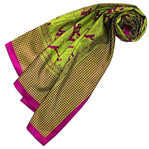 LORENZO CANA High End quadratisches XL Luxus Tuch Baumwolle kombiniert mit Seide 110 x 110 cm Naturfaser Marken Schaltuch Halstuch Hahnentritt Paisley (Aus Seide Hahnentritt-schal)