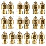 EAONE 18 Stück 3D Drucker Düsen M6 Extruder Düse (2 * 0.2mm+2 * 0.3mm+6 * 0.4mm+2 * 0.5mm+2 * 0.6mm+2 * 0.8mm+2 * 1.0mm) für MK8 Makerbot