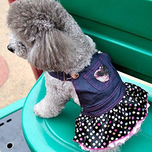 Vestitino Jeans Per Cani Cuccioli Chihuahua Abito Con Cuore Pailettes - S