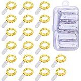 Guirlande Lumineuse à Piles (Inclus) Lot de 20 Étanche Fil en Cuivre 1m avec 10 LEDs Blanc Chaud pour Décoration Anniversaire