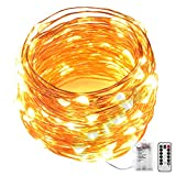 FairyDecor 5M/16ft Waterproof Starry Fairy Copper Wire Battery operated string lights with Remote and Timer Control,Battery Powered Fairy Lights for Kids Girls Bedroom/Garden Decoration