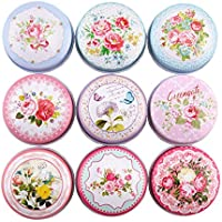 TooGet DIY Candle Pretty Tin Jars, Empty Reusable Tin Cups for Homemade Tealights, Also Great for Dry Storage, Spices, Camping, Party Favors, and Gifts, 9-Pack