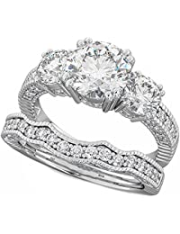 Ladies Ring - 925 Sterling Silver Luxury Unique Affordable Wedding Engagement Bridal Ring Set