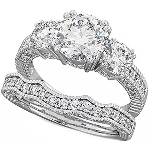 Ladies Ring - 925 Sterling Silver Luxury Unique Affordable Wedding Engagement Bridal Ring Set M