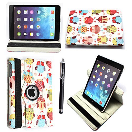 Kamal Star® Samsung Galaxy Tab E 9.6 T560 T561 Smart Book Cover Case – Ultra Slim Light Weight Stand Supports 360 Viewing Angles with Auto Sleep/Wake Feature + Free Stylus ( Design 02 Multi Owl)