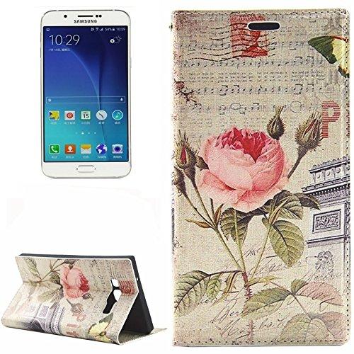 Schützen Sie Ihr Mobiltelefon Retro britische Art-Blumen-Muster-horizontale Flip-Quadrat-TPU + PU-lederner Kasten mit Halter u. CardSlots für Samsung-Galaxie A8 für Samsung Handy ( SKU : S-SCS-6951C )