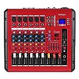 ammoon Mezclador de Audio Digital de 6 Canales Consola de Mezcla con Función de Amplificador de Potencia 48V Poder Fantasma Interfaz USB para la Grabación DJ Stage Karaoke