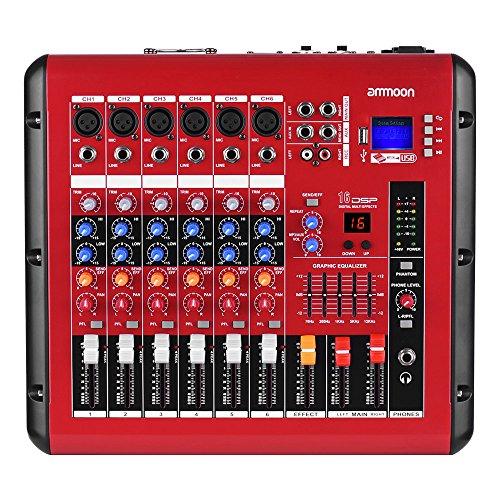 Ammoon-Mischer 6CHANNEL DIGITAL AUDIO-VERSTÄRKER Leistung 48V Power Gespenst Schnittstelle USB-Mischung mit Funktion Konsole für die Aufzeichnung DJ Stage Karaoke (Konsole Mixer Verstärker)
