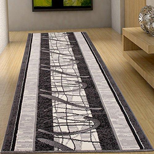 Tapis De Couloir Moderne Collection Fiesta - Couleur Gris Motif Orné Bordure - La Meilleure Qualité - Différentes Dimensions S-XXXL 120 x 50 cm