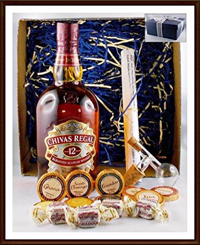 Geschenk Chivas Regal 12 Jahre Whisky + Flaschenportionierer + 10 Edel Schokoladen von DreiMeister/DaJa + 4 Whisky Fudge, kostenloser Versand