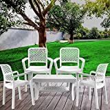 ITALICA Armchair and Table Combo (White) - Set of 4 Chairs