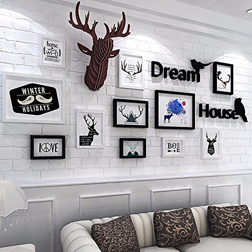 Foto de WUXK La Sala de pinturas murales fotográficos Elk minimalista moderno estilo nórdico pintura mural pintura mural restaurante combinación sofá pinturas murales de fondo, 2