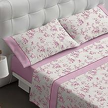 Burrito Blanco Juego de sábanas 459 Rosa de cama de 150x190/200 cm