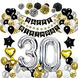 HULASO 30. Geburtstag Dekorationen, Gold und Silber Geburtstag Deko für Männer Frauen mit Happy Birthday Girlande Banner, Folienballon Zahl 30 und Konfetti Latexballons Papier Pompons