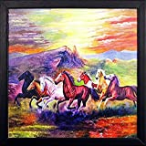 #9: PAF Horse Painting exclusive Framed Wall Art Paintings Framed size (12 inch x 12 inch, (Wood 35 cm x 2 cm x 35 cm, Special Effect Textured)