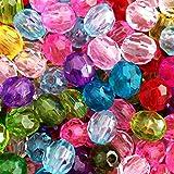 Lnvision 300 Stück 8mm Kristall Glas Perlen Bunte Runde Briolette Facettierte Glasperlen Schmuck Beads für DIY Schmuckherstellung Armband Halskette Basteln