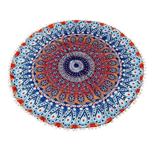 Kissenbezüge für 80 * 80CM Kopfkissen Transer® Große Mandala Bodenkissen Round Bohemian Meditation mit Reißverschluss Polyester für Zierkissenschutzbezüge (2) (Rosa Und Marine Baby-bettwaren)