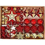 Valery Madelyn 70 Piezas Bolas de Navidad de 3-6 cm, Adornos Navideños para Arbol, Decoración de Bolas de Navidad Inastillable Plástico de Rojo y Dorado, Regalos de Colgantes de Navidad