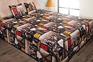 170x210 braun gelb rot beige Tagesdecke Bettüberwurf Steppbettüberwurf mit 2 Kissenbezügen 40x40 New York USA Empire State Building Pop Art