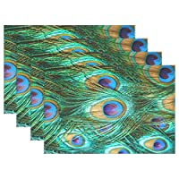 BIGJOKE Place Mats Sets of 6, Peacock Feather Placemats Table Mats Durable Washable Heat Resistant for Kitchen