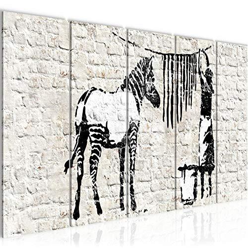 Bilder Banksy Washing Zebra Wandbild 200 x 80 cm Vlies - Leinwand Bild XXL Format Wandbilder Wohnzimmer Wohnung Deko Kunstdrucke Schwarz Weiß 5 Teilig - MADE IN GERMANY - Fertig zum Aufhängen 012955a - Lounge Zebra