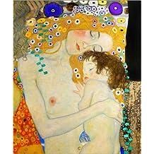 Cuadro sobre lienzo 80 x 100 cm: Mother and Child (detail) de Gustav Klimt - cuadro terminado, cuadro sobre bastidor, lámina terminada sobre lienzo auténtico, impresión en lienzo