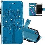 COTDINFOR iPhone 6S Plus Hülle für Mädchen Elegant Retro Premium PU Lederhülle Handy Tasche mit Magnet Standfunktion Schutz Etui für iPhone 6 Plus / 6S Plus Blue Wishing Tree with Diamond KT.