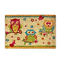 Relaxdays Coconut Fibre OWLS 40 x 60 cm Coir Doormat Welcome Mat with 3 Owls with No-Slip Rubber PVC Underside, Multicolour
